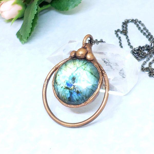 Electroformed Flashy Blue Labradorite Pendant Necklace with Gunmetal Chain