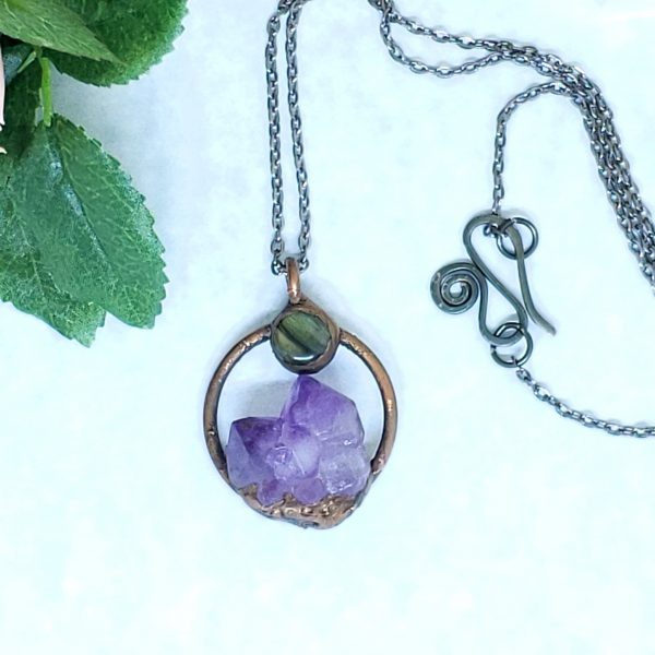 Electroformed Mini Moon Over the Mountain Amethyst and Labradorite Necklace with Gunmetal Chain