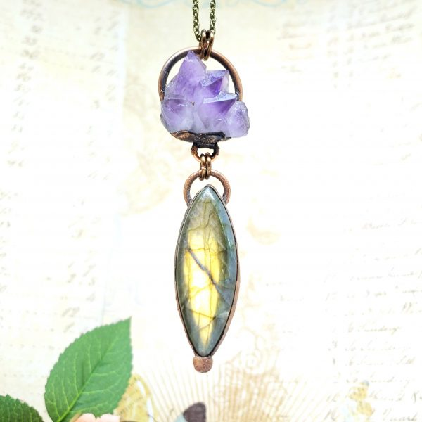 Electroformed Amethyst and Flashy Labrodorite Necklace with Bronze Chain