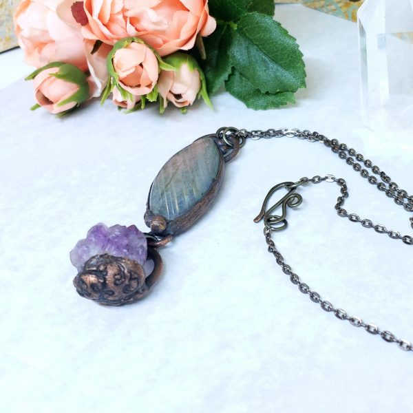Electroformed Labrodorite and Amethyst Necklace with Gunmetal Chain