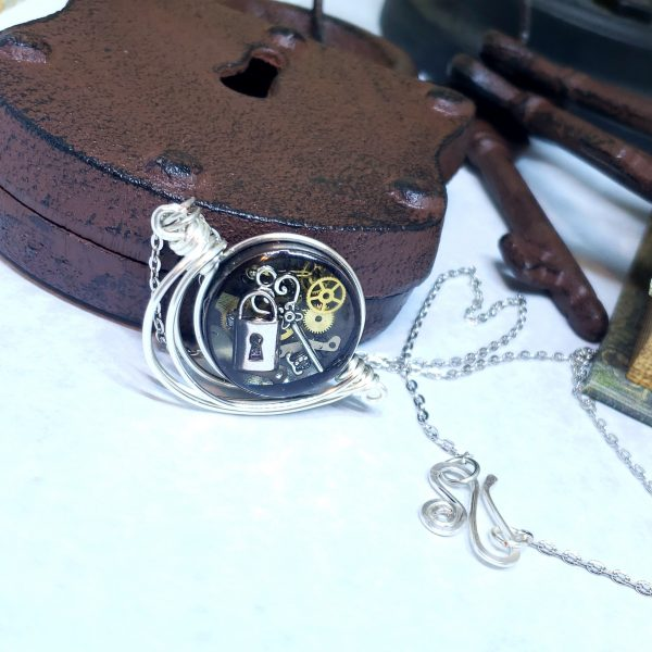 Steampunk Necklace in Silver Fancy Wire Wrap Small