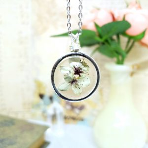 Real Flower Necklace in Silver Simple Wire Wrap Small