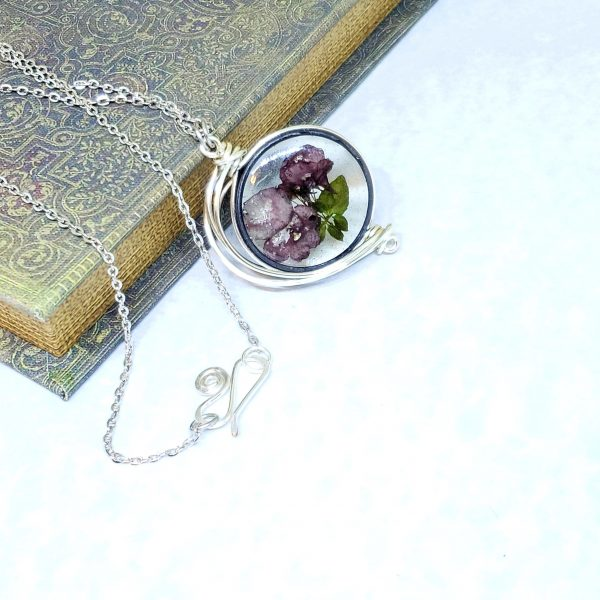 Real Flower Necklace in Silver Fancy Wire Wrap Large