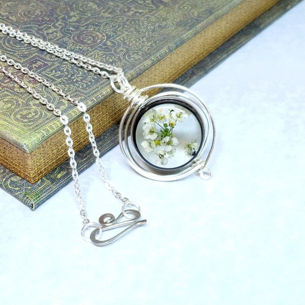 Real Flower Necklace in Silver Fancy Wire Wrap Small