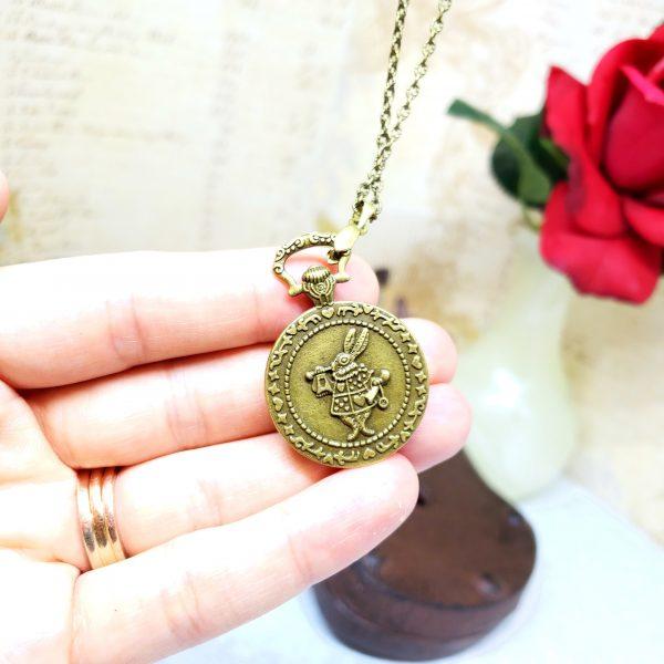 Alice in Wonderland Pocket Watch Necklace in Bronze