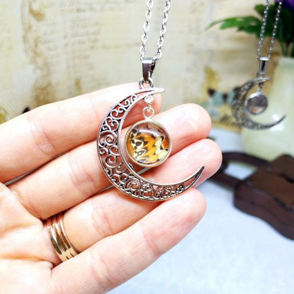 Red Lacewing Butterfly Moon Necklace
