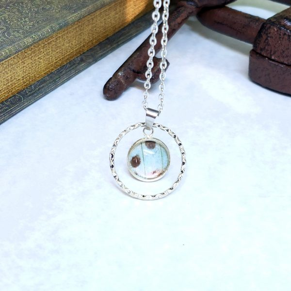 Mother of Pearl Butterfly Large Circle Charm Necklace