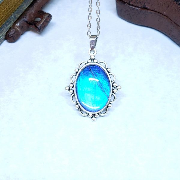 Blue Morpho Butterfly Victorian Style Necklace