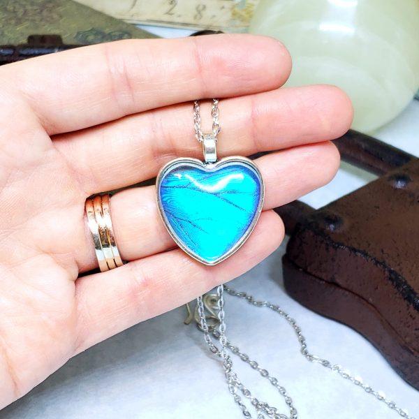 Blue Morpho Butterfly Silver Heart Necklace
