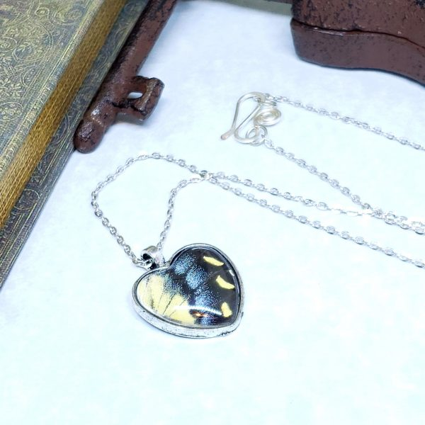 Eastern Tiger Swallowtail Butterfly Silver Heart Necklace
