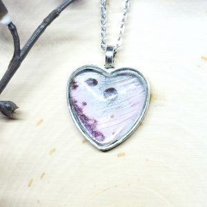 Mother of Pearl Butterfly Silver Heart Necklace