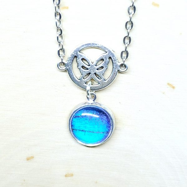 Blue Morpho Butterfly Charm Necklace