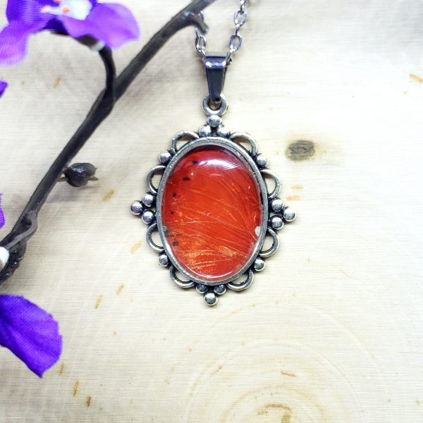 Red Glider Butterfly Victorian Style Necklace