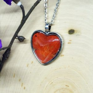 Red Glider Butterfly Silver Heart Necklace