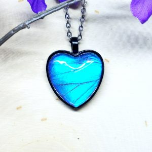 Blue Morpho Butterfly Black Heart Necklace