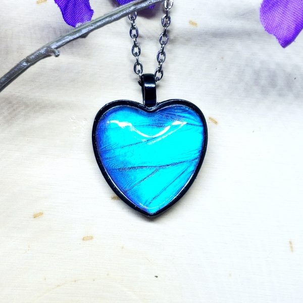 Blue Morpho Butterfly Black Heart Necklace
