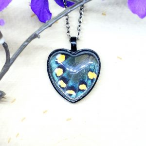 Pipevine Swallowtail Butterfly Black Heart Necklace