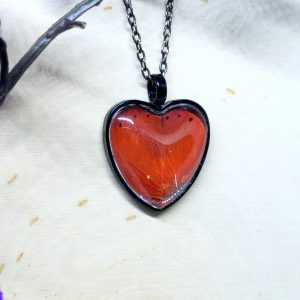 Red Glider Butterfly Black Heart Necklace