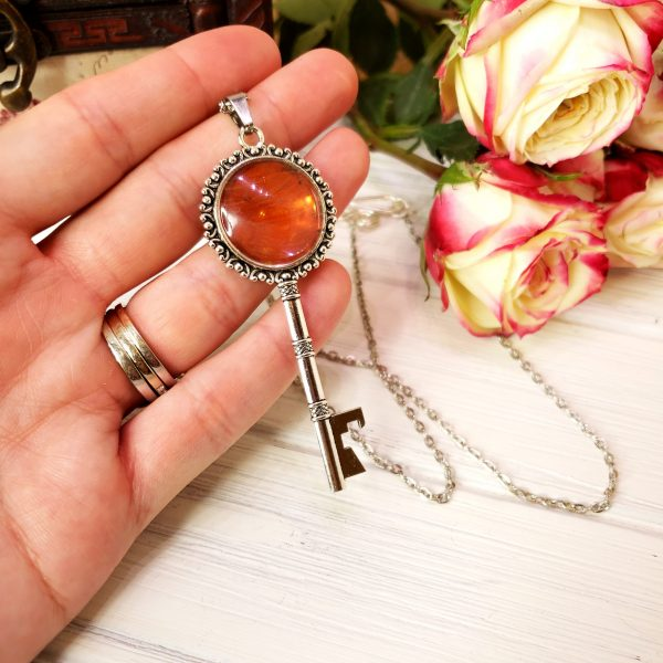 Red Glider Butterfly Silver Key Necklace