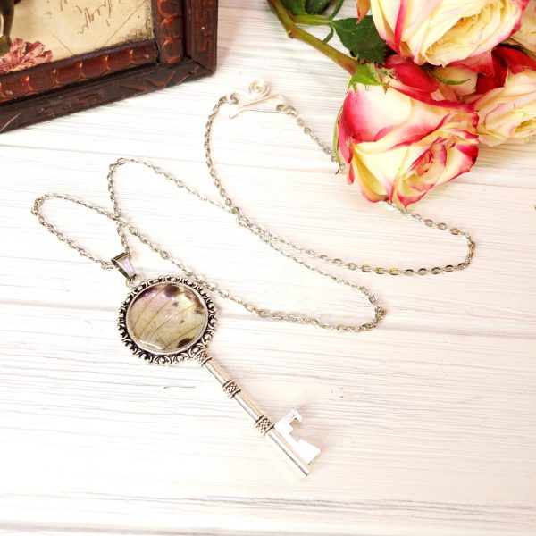 Mother of Pearl Butterfly Silver Key Necklace
