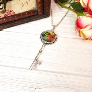 Madagascan Sunset Moth Silver Key Necklace