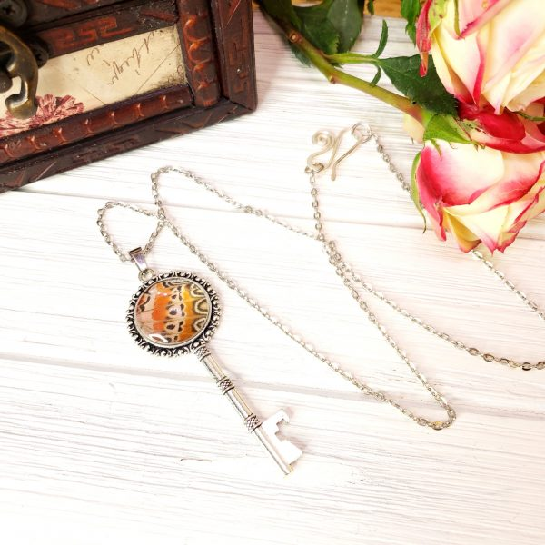 Red Lacewing Butterfly Silver Key Necklace