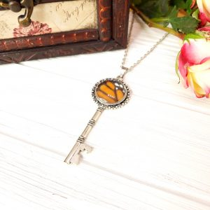 Monarch Butterfly Silver Key Necklace