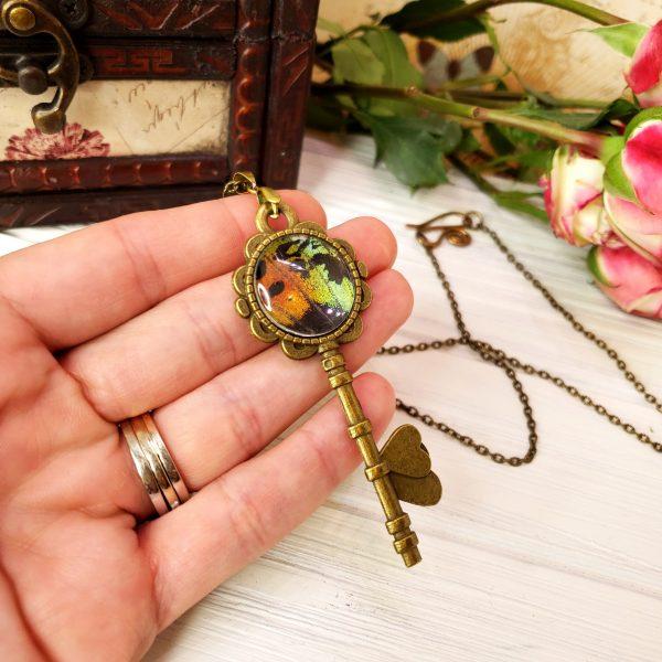Madagascan Sunset Moth Bronze Key Necklace