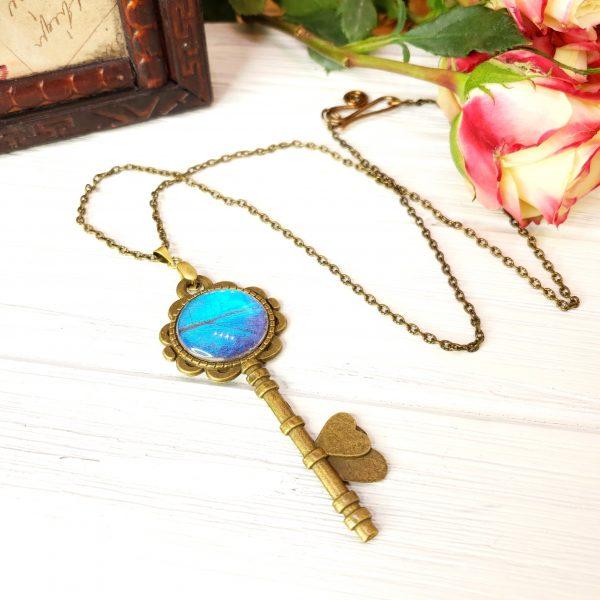 Blue Morpho Butterfly Bronze Key Necklace