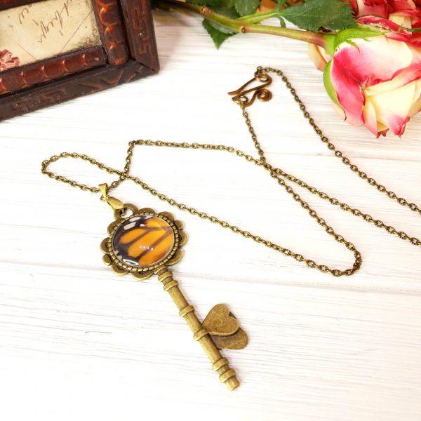 Monarch Butterfly Bronze Key Necklace