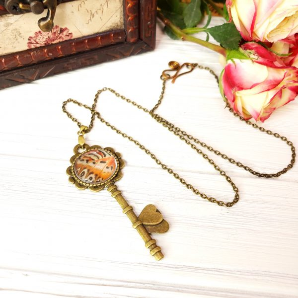 Red Lacewing Butterfly Bronze Key Necklace
