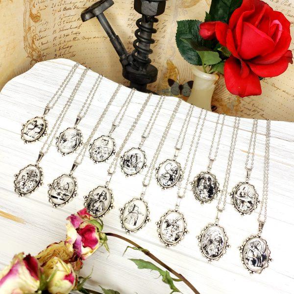 Alice in Wonderland Giant Alice Necklace in Silver