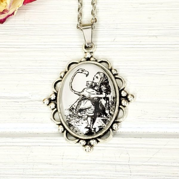 Alice in Wonderland Flamingo Croquet Necklace in Silver