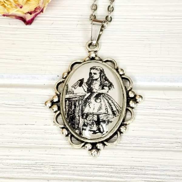 Alice in Wonderland Drink Me Necklace in Silver