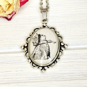 Alice in Wonderland Red Queen Necklace in Silver