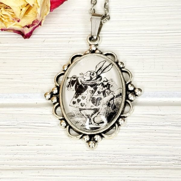 Alice in Wonderland White Rabbit Necklace in Silver