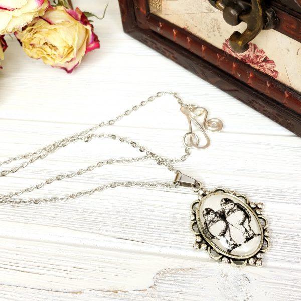 Alice in Wonderland Tweedle Dee and Tweedle Dum Necklace in Silver