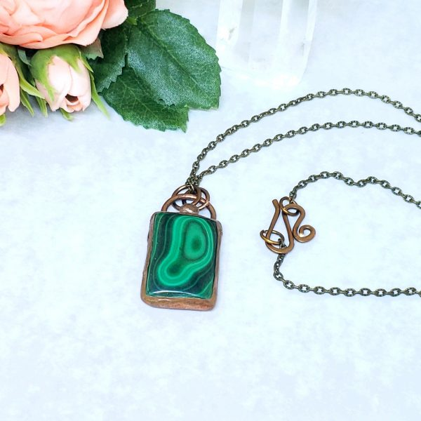 Electroformed Malachite Pendant with Bronze Chain