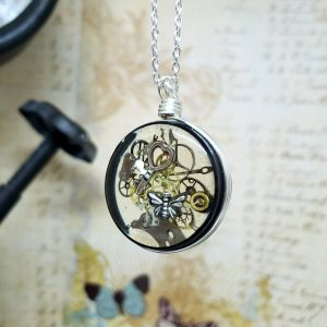 Steampunk Necklace in Silver Simple Wire Wrap Large