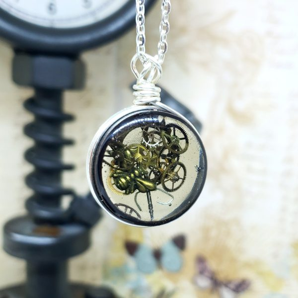 Steampunk Necklace in Silver Simple Wire Wrap Small