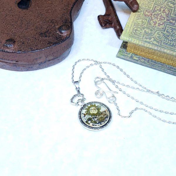Steampunk Silver Mini Pocket Watch Necklace