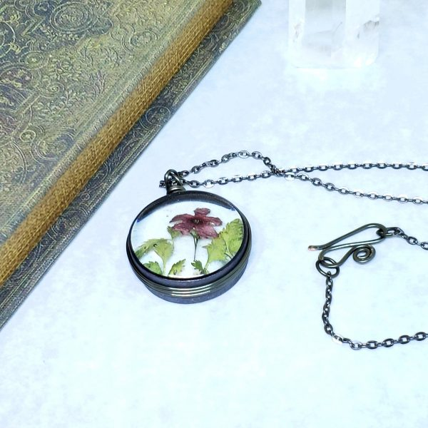 Real Flower Necklace in Gunmetal Simple Wire Wrap Large