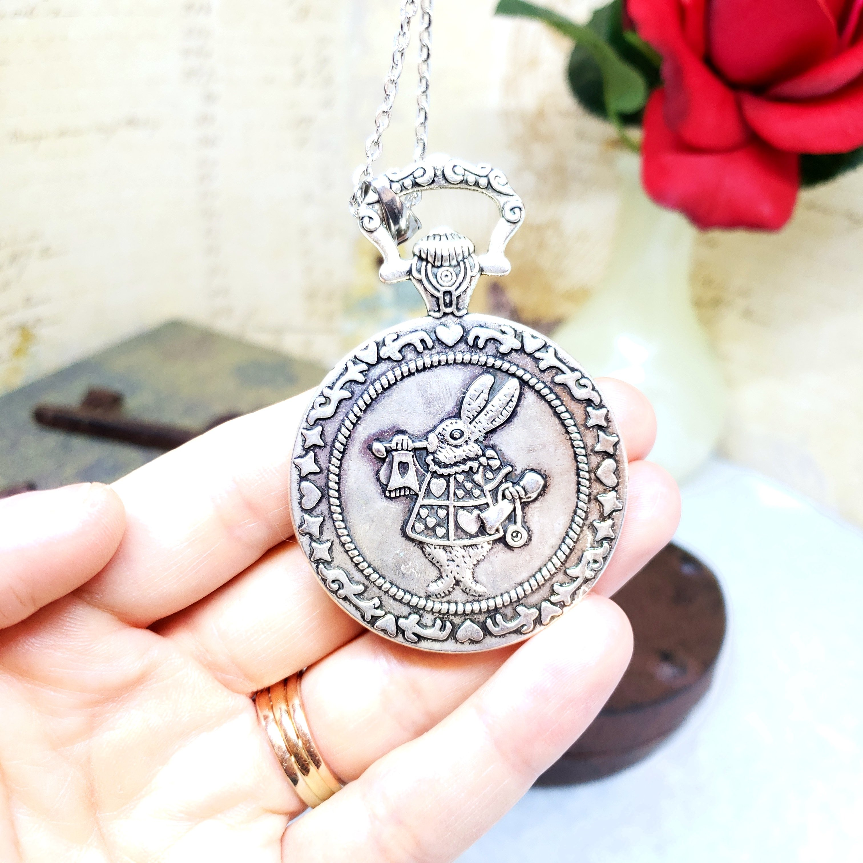 Alice in Wonderland Large Pocket Watch Necklace in Silver ...
