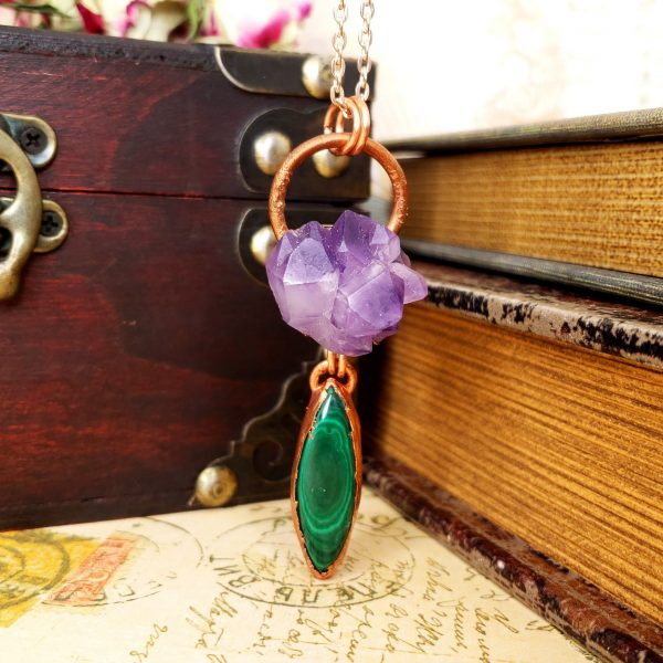 Electroformed Amethyst Cluster and Marquise Malachite with Copper Chain