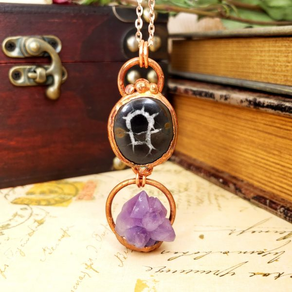 Electroformed Septarian Cabochon and Amethyst Cluster Necklace with Copper Chain