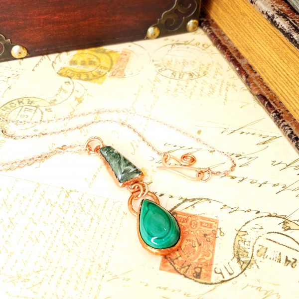 Electroformed Seraphinite and Malachite Cabochon Necklace with Copper Chain