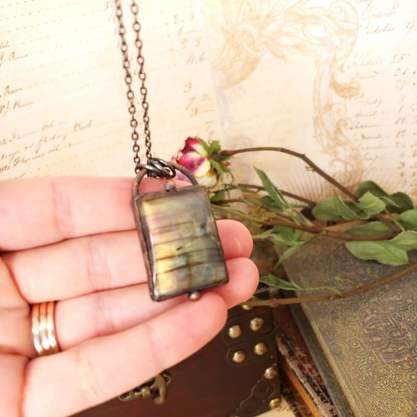 Electroformed Labradorite Cabochon Necklace with Gunmetal Chain