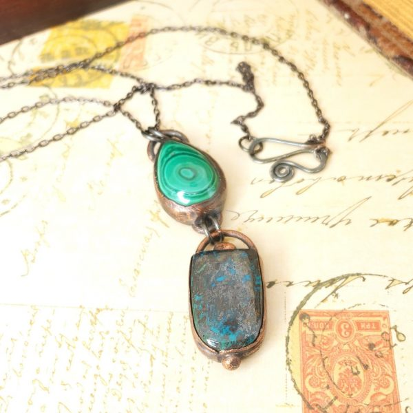 Electroformed Malachite and Azurite Cabochon Pendant with Gunmetal Chain