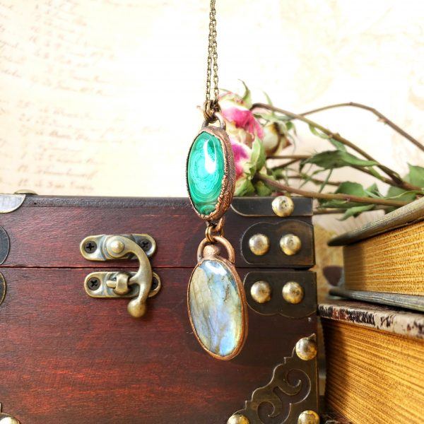 Electroformed Malachite and Labradorite Pendant with Bronze Chain