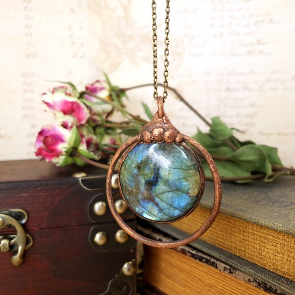 Electroformed Labradorite Cabochon Necklace with Bronze Chain